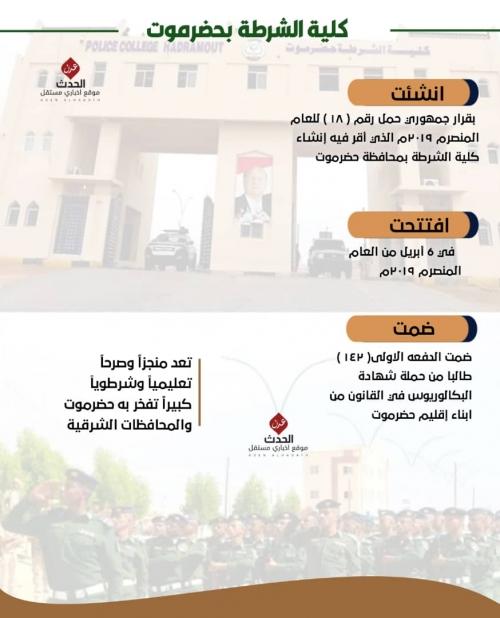 كلية الشرطة بحضرموت بين واقع وكيان ملموس ( تقرير + إنفوجرافيك )