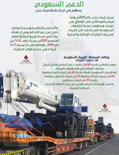 إنفوجرافيك-الدعم السعودي يساهم في ازدياد نشاط ميناء عدن