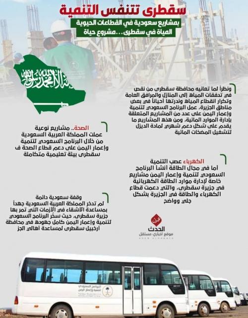 """إنفوجرافيك/هكذا تنفست """"سقطرى"""" اليمنية عبر مشاريع سعودية حيوية"""