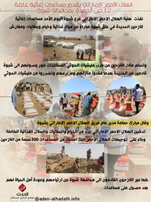 شاهد جرافيك /الهلال الأحمر الإماراتي يقدم مساعدات عاجلة لمخيم النازحين بمحافظة شبوة.