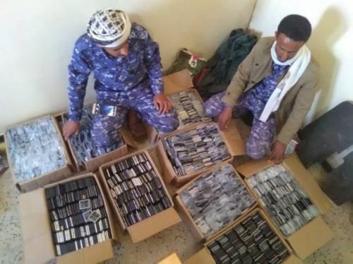 الأجهزة الأمنية بمأرب تضبط عدد كبير من أجهزة الاتصالات كانت في طريقها للحوثيين شاهد