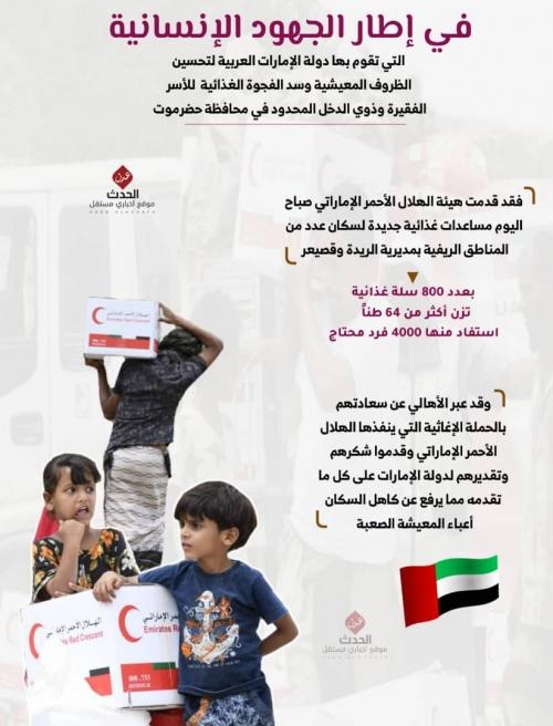 إنفوجرافيك/ في إطار الجهود الإنسانية  دولة الإمارات لتحسين الظروف المعيشية وسد الفجوة الغذائية  للأسر الفقيرة بحضرموت