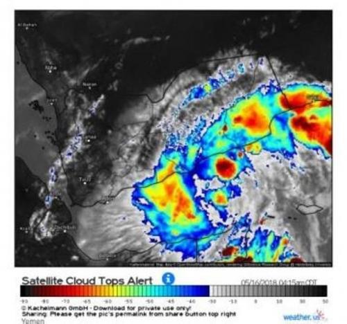 مجموعة طقس اليمن تحذر المواطنين من تطور الحالة المناخية في حضرموت وشبوة بهطول أمطار غزيرة