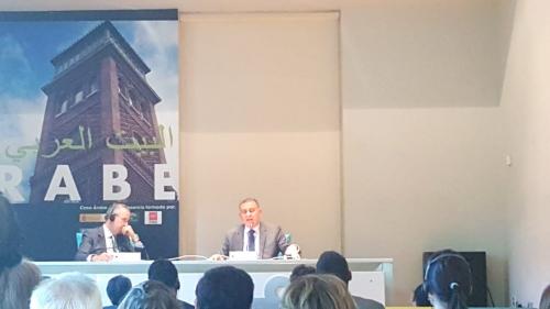 """السفير """" ميسري """" يلقي محاضرة في مؤسسة البيت العربي بالخارجية الأسبانية"""