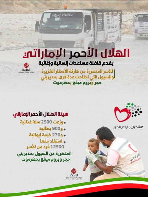 إنفوجرافيك/الهلال الأحمر الإماراتي يقدم  قافلة إنسانية  للأسر المتضررة من كارثة الأمطاروالسيول بحجر وبروم ميفع بحضرموت  