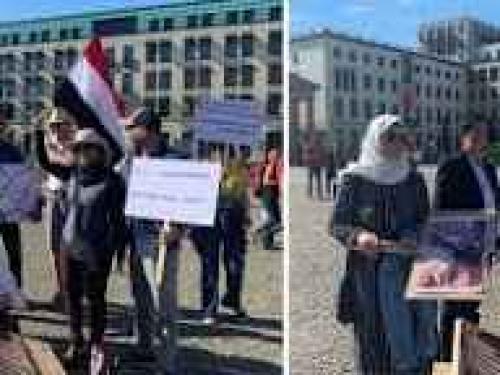 تظاهرة في برلين تطالب العالم  بالضغط على الحوثيين لإنقاذ سفينة صافر