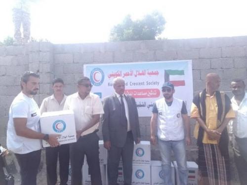 الهلال الاحمر الكويتي يدشن مساعدات اغاثية لنازحين الحديدة بلحج