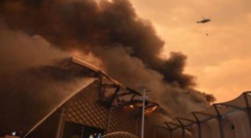 الدفاع المدني السعودي: 50% نسبة السيطرة على حريق محطة قطار الحرمين(صور وفيديو)