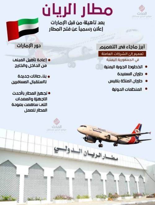 إنفوجرافيك/إعادة افتتاح مطار الريان بعد توقف 5 سنوات
