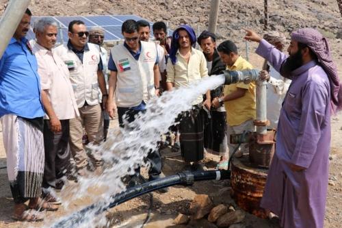 الهلال الأحمر الإماراتي يفتتح مشروع مياه اللجين بمديرية الملاح محافظة لحج فيديو